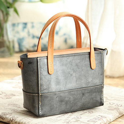 Vintage Womens Gray Leather Handbag Tote Purse Tote Handmade Shopper Side Tote Bag for Men