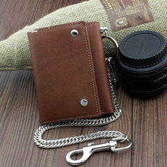Badass Brown Leather Men's Trifold Small Biker Wallet Chain Wallet Wallet with chain For Men