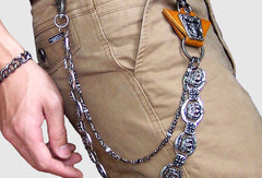 Black biker trucker crown hook wallet Chain for chain wallet biker wallet trucker wallet