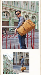 Camel Mens Canvas Large Weekender Bag Canvas Travel Shoulder Bag Large Canvas Duffle Bags for Men