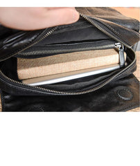 Casual Black Leather Mens 10 inches Side Bag Small Messenger Bag Black Postman Bag For Men