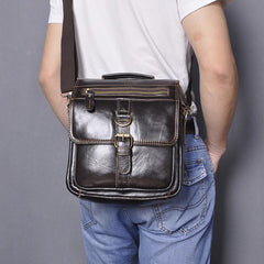 Black Leather Mens Small Vertical Messenger Bag Vertical Black Side Bags Small Handbag For Men