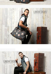 Black Mens Fashion Canvas Large Travel Bag Shoulder Canvas Weekender Bag Duffle Bag For Men