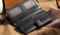 Black Braided Leather Mens Long Wallet Bifold Long Wallet for Men