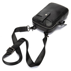 Cool Black Leather Men's Cell Phone Holster Mini Side Bag Waist Belt Pouch For Men