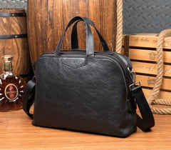 Black Cool Leather 14 inches Shoulder Briefcase Travel Bags Handbags Luggage Bag for Men