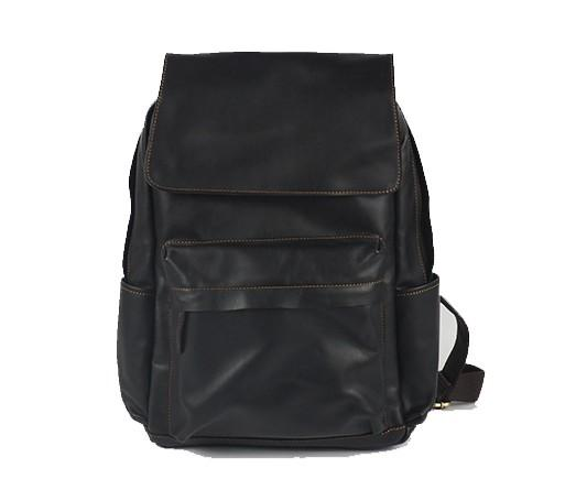 Black Cool Mens Leather 15inch Laptop Backpack Leather School Backpack Travel Backpack for Men