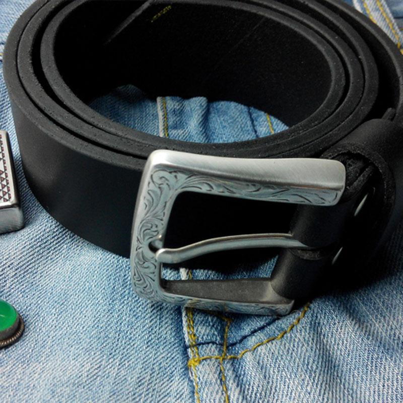 Black Handmade Leather Mens Belt Leather Belt for Men