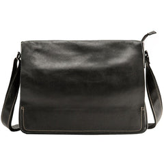 Black Large Leather Mens Cool Messenger Bags Shoulder Bags  for Men