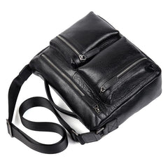 Black Leather 10 inches Mens Small Messenger Bag Black Side Bag Courier Bag Postman Bag for Men