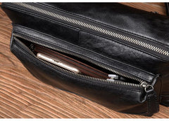 Cool Black Leather 10 inches Mens Messenger Bags Small Courier Bags Postman Bag for Men
