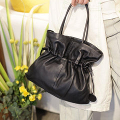 Black Leather Drawstring Bucket Bag Womens Bucket Bag - Annie Jewel