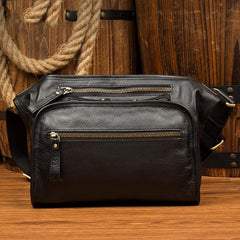 Black Leather Fanny Pack Mens Waist Bag Hip Pack Belt Bag Bumbag for Men