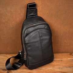 Black Leather Mens Cool Sling Bag Sling Pack Crossbody Pack Chest Bag for men
