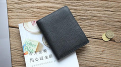 Black Leather Mens Slim Bifold Small Wallet Front Pocket Wallet Short Small Wallet for Men