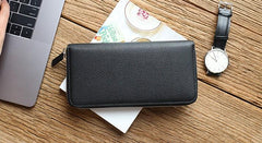 Black Mens Leather Zipper Long Wallet Phone Long Bifold Wallet for Men