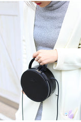 Black Stylish LEATHER WOMENs Circle Handbags Round SHOULDER BAG Purses FOR WOMEN