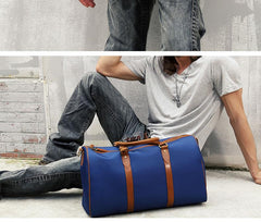 Blue Nylon Leather Mens Travel Bag Weekender Bag Sports Shoulder Bag Large Travel Bag for Men