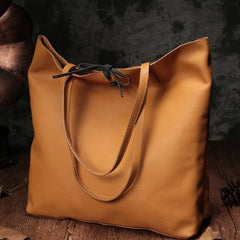 Vertical Brown Leather Tote Bag 14