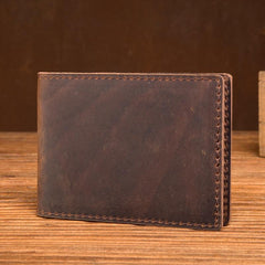 Brown Cool Leather Mens Card Holder Front Pocket Wallet Black License Wallet for Men