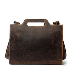 Brown Leather Men's Simple Professional Briefcase 13'' Laptop Handbag Business Bag For Men