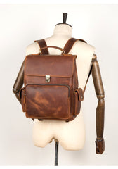 Brown Casual Leather Mens 13 inches School Backpack Travel Backpack Computer Backpack for Men