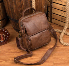 Cool Brown Leather 10 inches Vertical Small Briefcase Side Bags Messenger Bag Courier Bag for Men