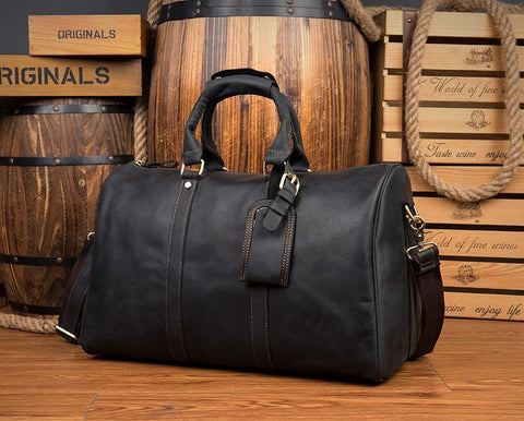 Brown Cool Leather 16 inches Weekender Bag Black Travel Shoulder Bags Duffle Bag for Men