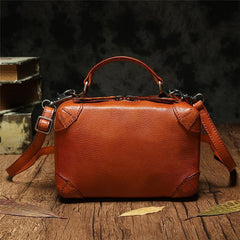 Red Womens Leather Satchel Handbag Cube Square Box Satchel Brown Handbag Purse for Ladies