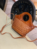 Brown Braided Leather Womens Bucket Handbag Shoulder Bucket Bag Purse Side Bag for Ladies
