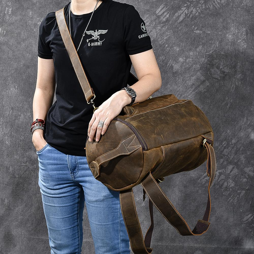 "Brown Leather Mens 15"" Laptop Bucket Hiking Backpack Travel Backpack Barrel Backpack for Men"