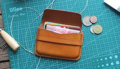 Brown Leather Mens Card Wallet Front Pocket Wallets Cool Small Change Wallet for Men