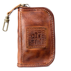 Brown Leather Mens Small Car Key Wallet Brown Key Holder Coin Purse Brown Card Holder For Men