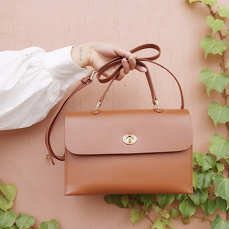 Brown Leather Women Handbag Shoulder Bag Work Bag For Women