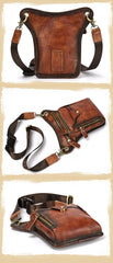 Vintage Brown Leather Men's CELL PHONE HOLSTER MINI SIDE BAG Waist BELT POUCH Drop Leg Bag For Men