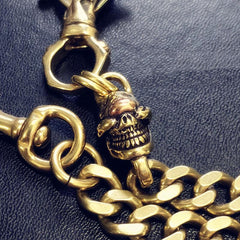 Badass Gold Skull Mens Wallet Chain Biker Wallet Chain 18'' Pants Chain For Men