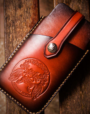 new styles 1fe1a a5932 Handmade tooled 5.5 inch carved leather phone case iphone 6s 7s phone case
