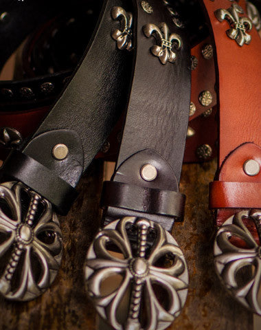 Handmade Custom personalized Chrome Hearts rivet Leather men brown black white belt