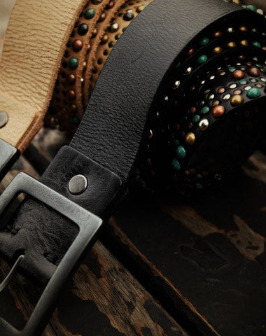 Handmade Custom personalized punk rivet Leather men beige black white belt