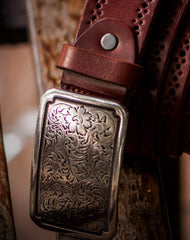 Handmade Custom personalized floral Leather men brown black coffee belt