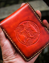 Handmade leather billfold lion wallet clutch zip long wallet brown leather men