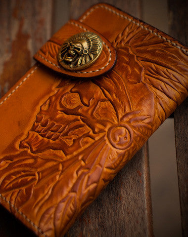 HANDMADE LEATHER INDIAN CHIEF SKULL BROWN COFFEE CARVED BIKER WALLET TRUCKER SHORT WALLET FOR MEN