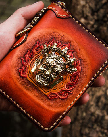 Handmade leather God Mahakala short biker wallet clutch zip wallet brown tooled