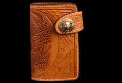 Handmade brown leather indian skull carved biker wallet bifold billfold wallet for men