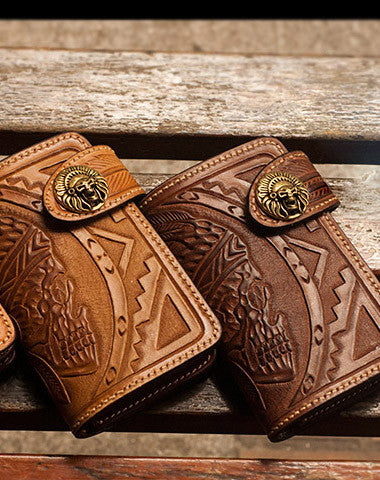 HANDMADE BROWN LEATHER INDIAN SKULL CARVED BIKER WALLET BIFOLD SHORT WALLET FOR MEN