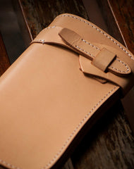 Handmade beige leather men biker wallet Long wallet with multi card clutch for men