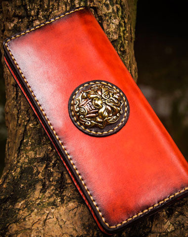 Handmade leather lion biker wallet clutch zip long wallet brown  leather men phone