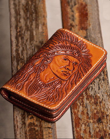 Handmade black coffee brown leather Indian carved biker wallet short wallet for men