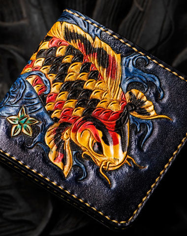 Handmade leather tooled fish carp wallet clutch black Short wallet brown leather men