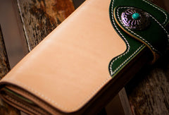 Handmade leather beige green men biker wallet bifold long wallet for men